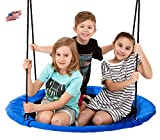 Smartsome Flying Saucer Tree Swing | 40 Inch | Steel Frame | Indoor & Outdoor | Hours of Fun | Hardware Included | Easy Assembly | Great Kids Swing | Trees & Play sets | Large Weight Capacity | Blue .