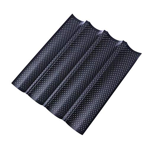 4 Grooves Wave French Bread Baking Tray Carbon Steel Mold Non-Stick Perforated Baking Tool for Baguette Bake Pan - Black
