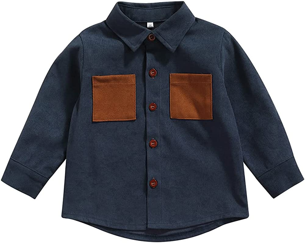 Kids Boy Girl Button Down Long Sleeve Collared Dress Shirt Top Casual Fall Winter Clothes Chest Pocket