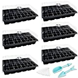 6 Set Seedling Trays Seed Starter Kit- 240 Cells Plant Germination Tray with Dome and Tray Base for Growing and Cloning (40 Cells Per Tray, Black)