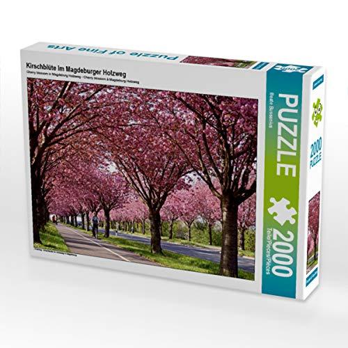 CALVENDO Puzzle Kirschblüte im Magdeburger Holzweg 2000 Teile Lege-Größe 90 x 67 cm Foto-Puzzle Bild von Fotine