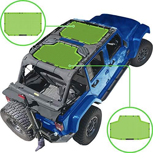 Alien Sunshade Jeep Wrangler JKU (2007-2018) – Front & Rear Mesh Sun Shade for Jeep JK Unlimited - Blocks UV, Wind, Noise - Bikini Jkini Top Cover for Sport, Sport S, Sahara, Rubicon (Green)