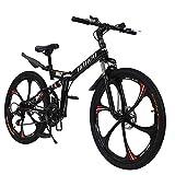 Men's Mountain Bike 26 inch Folding Bike Bycicles Non-Slip Aluminum Frame Front Suspension Daul Disc Brakes (Black-21 Speed)