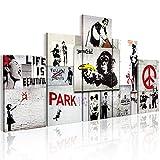 murando Cuadro en Lienzo 200x100 cm Banksy Impresión de 5 Piezas Material Tejido no Tejido Impresión Artística Imagen Gráfica Decoracion de Pared Abstracto f-C-0138-b-m Collage