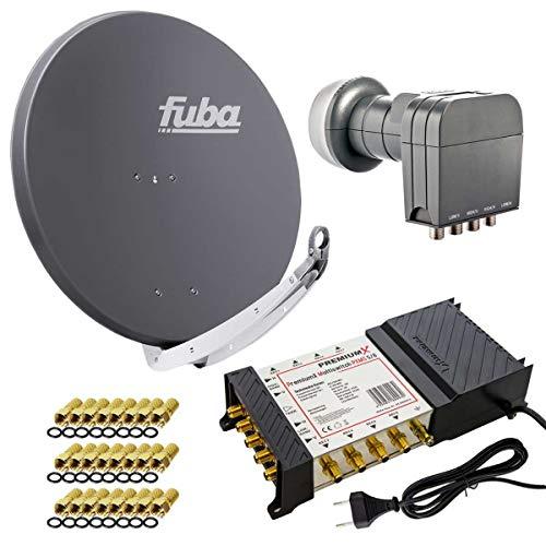 Fuba DAA 850 A Sat Anlage Aluminium Satellitenschüssel Anthrazit mit PremiumX Multischalter 5/8 Switch und Quattro LNB für 8 Teilnehmer