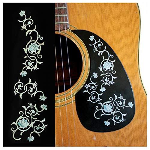 Pegatinas para incrustaciones de guitarras y bajo - flores orientales - perla blanca, B-165OFS-WT