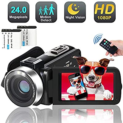 Digital WiFi Camcorder Video Camera with Microphone Full HD 1080p 30fps 24.0MP Vlogging Video Camcorder Recorder for YouTube Support Remote Controller Time Lapse by WEILIANTE