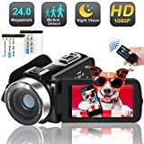 Video Camera Camcorder, 1080p 30FPS Digital YouTube Vlogging Camera Recorder with LED Fill in Light Support External Microphone Full HD 30MP 18X Digital Zoom with 2 Batteries HDMI Cable Included