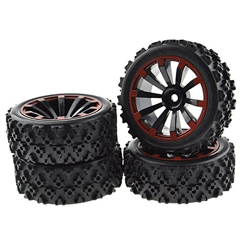 JIUWU 4 x RC 1:10 Scale Wheel Rims + Tires Crossing Pattern for RC On-Road Black
