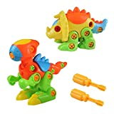 Akokie Dinosaur Toys Kids Take Apart Animals Toys DIY Dino Puzzle Push Construction Toys for 3 4 5 6 Years Old