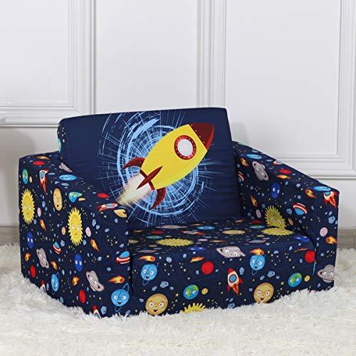 PWTJ Kid Sofa Chair, Children 2 in 1 Flip Open Foam Sofa Bed for Ideal Kid Birthday Gift (blue)