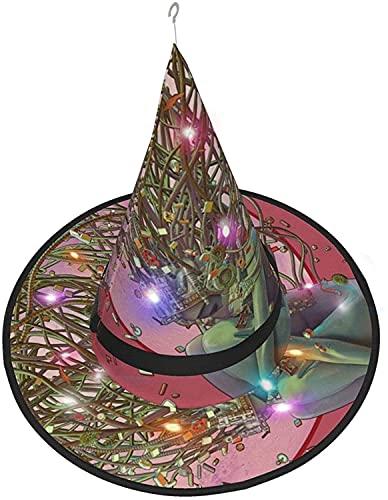 KINGAM Sombrero de bruja Lonely Robot LED Luminoso Cap Bruja Sombrero Cadena Luces Decoración de Halloween para patio al aire libre Interior Árbol Negro