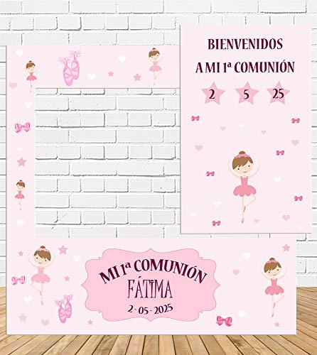 Photocall y Cartel Comunión Bailarina 100x100cm| Divertido y económico|Detalle de comunión| Hazte Unas Fotos Divertidas en el comunión de tu Hija| Personalizable