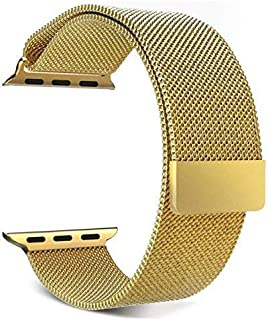 Market Affairs Stainless Steel Milanese Strap Band with Magnetic Closure Compatible with iWatch 44MM Series 4 and Series 5 - Gold