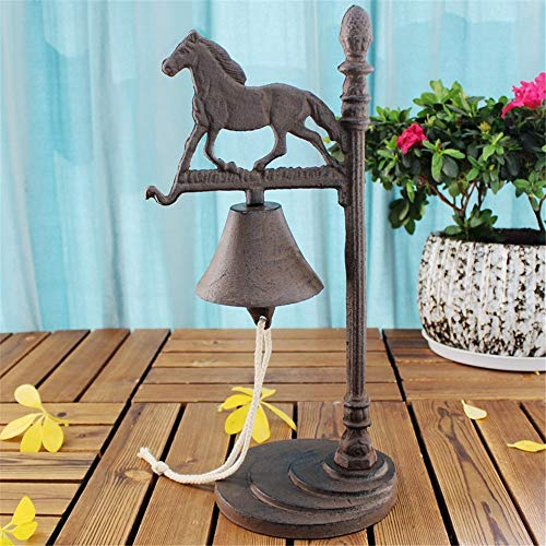 Servicebel Retro Ontwerp Paard Dienst Hand Call Desktop Decoration Cast Iron Dinner Bell Office bar Cafe Met Swing Ring Klassiek en Praktisch Ontwerp (Color : Retro, Size : 17x8x40cm)