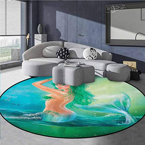 Underwater Vintage Modern Round Rug Abstract Watercolor Mermaid in Ocean on Waves Tail Sea Creatures Dramatic Sky Dark Clouds Print Blue Green Diameter 41 in(104cm)