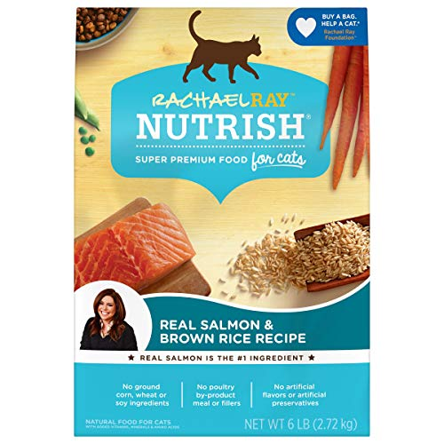 Rachael Ray Nutrish Premium Natural Dry Cat Food, Real Salmon & Brown Rice Recipe, 6 Pounds (Packaging May Vary)