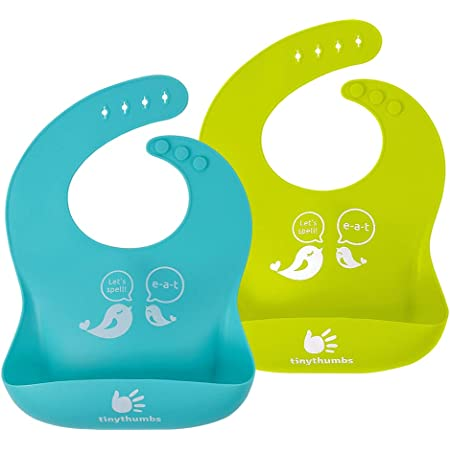 Drinking and Eating Easy Wipe Silicone Bib for Babies Adjustable//Dishwasher Safe//Lightweight 2 Pack Silicone Baby Bib for Girls Waterproof Bibs for Feeding Toddlers