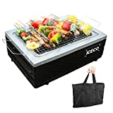 ICECO Portable Charcoal Grill, Go-Anywhere Stainless Steel Compact Folding BBQ Grill 15.7 Inch, Tabletop Camping Barbecue Grill with Carrying Bag Grill Net for Outdoor Cooking Picnic