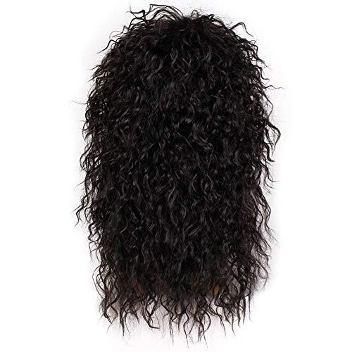 AHWYRSTY Longue Perruque frisée de Couleur Naturelle synthétique Cheveux Noirs Mesdames Perruque Cheveux cassés