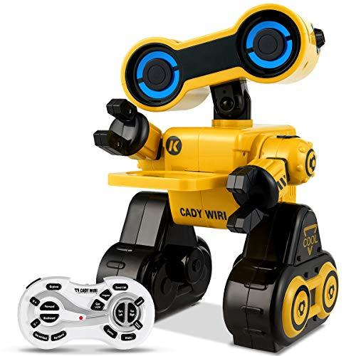 COSTWAY 2.4GHz Ferngesteuerter Roboter, RC Interaktiv Roboter programmierbar, Roboter Spielzeug intelligent mit Musik-, Tanz- und Sprachfunktion (Gelb)