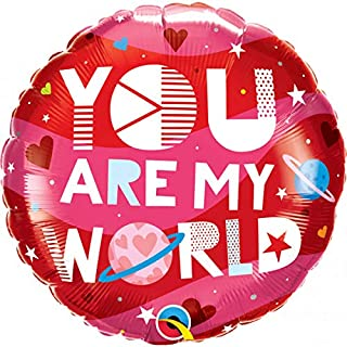 Qualatex You Are My World Round Foil Balloon, 18-inch Size