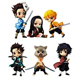 Juego de 6 figuras de demonio Slayer con figura de Kimetsu No Yaiba...