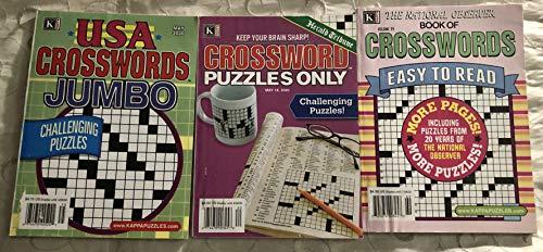 Mixed Lot of 3 USA Jumbo Herald Tribune National Observer Crosswords Crossword Puzzles Puzzle books 2020