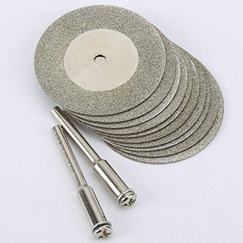 GFHDGTH 10st 35mm diamant dremel doorslijpschijf, dremel accessoires Stone Jade Glass Fit rotatiegereedschap Dremel boorgereedschap met twee doorn