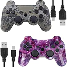 Kolopc Wireless Controllers for PS3 with high-Performance Dual Shock Function and Upgraded Joystick Gamepad Compatible with Original PS3 Controller(Pack of 2,StarrySky and Camouflage)