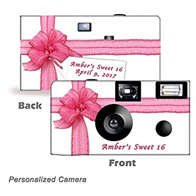 5 Beautiful Pink Ribbon Disposable Cameras, can be Personalized, Wedding, Party from CustomCameraCollection