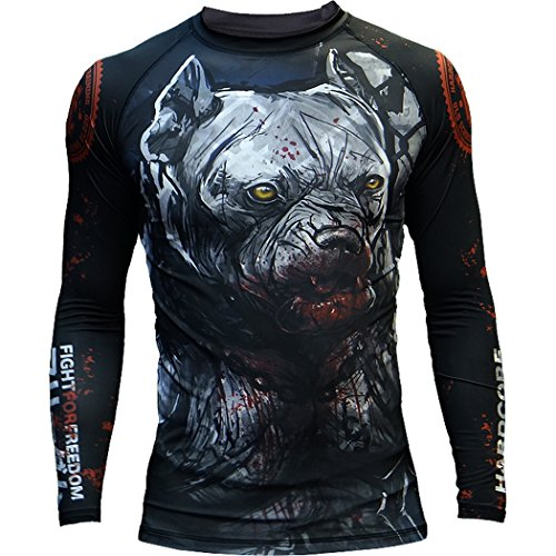 Hardcore Training Rash Guard For Men - Compression Shirt - Long Sleeve MMA Fitness Gym Crossfit-Grey/Black-XS Camisa de Compresión