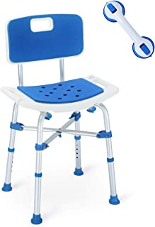 2019 Version! Upgraded Shower Chair, Bariatric Heavy Duty Bath Chair 500 lbs Cap. Transfer Bench w/EVA Paded Seat and Assist Grab Bar (White/Blue)