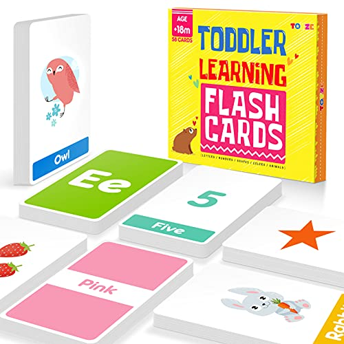Toyze Flash Cards for Toddlers Educational Preschool Learning Toys Kindergarten Flashcards with 58 Cards Colors Shapes Numbers Animals and Alphabet Toys for 1-6 Years Old Boys Girls