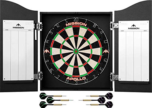 Mission Darts #_CAB508 Home Centre | Complete Darts Package Including Apollo Dartboard with Cabinet, Easy Wipe Score Panels and 2 Sets of Darts, Black