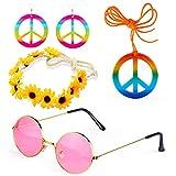 Beefunny 4 Stück Hippie Kostüm Dressing 60er Jahre Accessoires Set Friedenszeichen Halskette Blume...