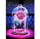 Vintree DIY 5D Pintura de Diamante Kit de Artesanía en Punto de Cruz Salón Decoración Pegatinas de Pared en Rosa Kit de Pintura de Diamante 5D por Número Diamante Arte Completo Taladro Rosa Roja