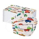 SilenceID 50 Piezas Niños Protección 3 Capas con Elástico, Impresión de Coches de Dibujos Animados para Actividades Diarias, al Aire Libre, Escuela, Fiesta-110606 (Multicolor)