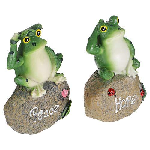 Yardwe 2 bonitas ranas de jardín de resina con forma de rana de la paz, decoración de jardín, decoración para terraza, color verde