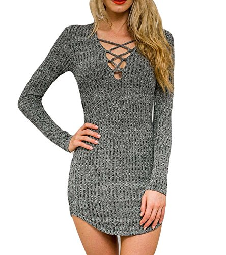 Dreagal Women Gray V Neck Long Sleeve Bodycon Mini Sweater Dress Top, Style1-Grey, Small