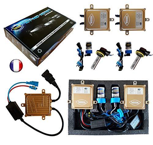 VEGA Kit HID Xénon Marque Francaise H11 10000K 55W Slim DSP AC Ampoules à embase coudée