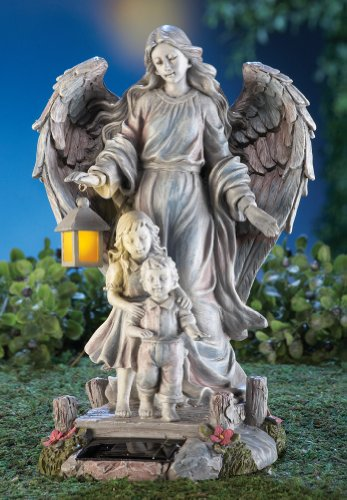 Collections Etc Solar Guardian Angel & Children Garden Statue, Gray