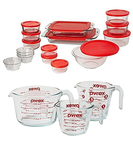 Bundle Includes 2 Items (31 Pieces Total) - Pyrex Easy Grab 28-Piece Glass Bakeware and Food Storage Set and Pyrex 3-Piece Glass Measuring Cup Set