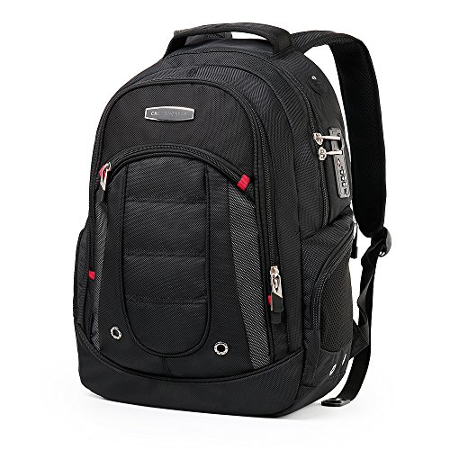 CrossGear Waterproof Black Backpack with Combination Lock- Fits Most 15.6 Inch Laptops and Tablets Business School Travel Bags CR-9003