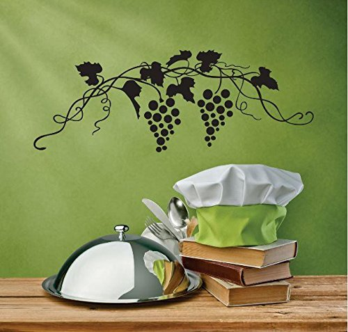 Top Selling Decals - Prices Reduced : Vinyl Wall Sticker : Two Grape Vines Image Bedroom Bathroom Living Room Picture Art Peel & Stick Mural Size: 8 Inches X 20 Inches - 22 Colors Available