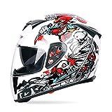 Sebasty Jiekai - Casco de motocicleta para locomotora todoterreno, cálido, antiniebla, color blanco, talla: M