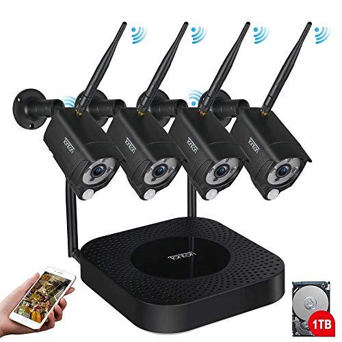 【Mikrofon & PIR Sensor】 Tonton 8CH Full HD 1080P Audio Überwachungskamera mit Audioüberwachung 8CH Recorder mit 4 Außen 1080P Wireless voll Metallgehäuse WLAN Kamera mit Tonübertragung 1TB HDD