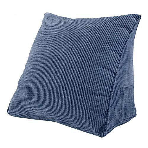 Heall Triángulo de la cuña del Respaldo del Amortiguador Cama Pana Mullido sofá Suave Almohada Azul Oscuro índice Suministro