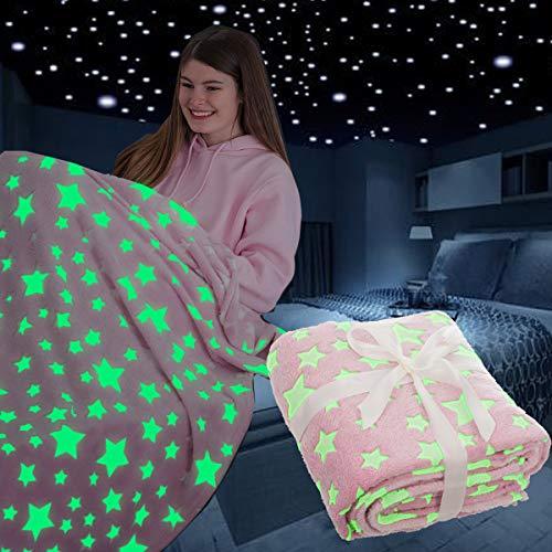 FiNeWaY Glow in The Dark Throw Blanket Flannel Moon Star Unicorn Gifts for Kids Girls Boys Adults Bedroom Cosy Warm Super Soft Plush Fleece Faux Fur (Stars Pink)