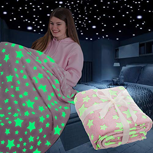 FiNeWaY Glow in The Dark Throw Blanket Flannel Moon Star Unicorn Gifts for Kids Girls Boys Adults Bedroom Cosy Warm Super Soft Plush Fleece Faux Fur (Stars Pink)